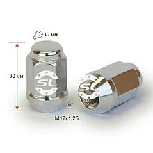 Гайка колесная М12х1.25х32мм (Niva,Matiz,Subaru,Suzuki) Конус Хром ключ 17