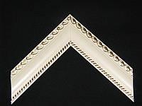 Багет пластиковый, серебро, с резьбой. Оформление картин, вышивок, икон