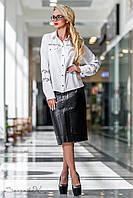 Женская кожаная классическая юбка ниже колен чёрная