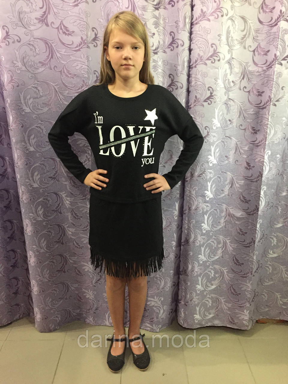 Трикотажный подростковый костюм для девочки 10 л