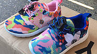 Детские кроссовки цветные камуфляжные с цветочками