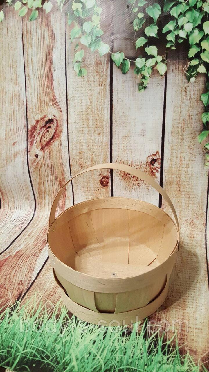 Лукошко из букового шпона с ручкой 17.5 см