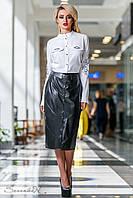 Женская классическая чёрная юбка ниже колен эко кожа