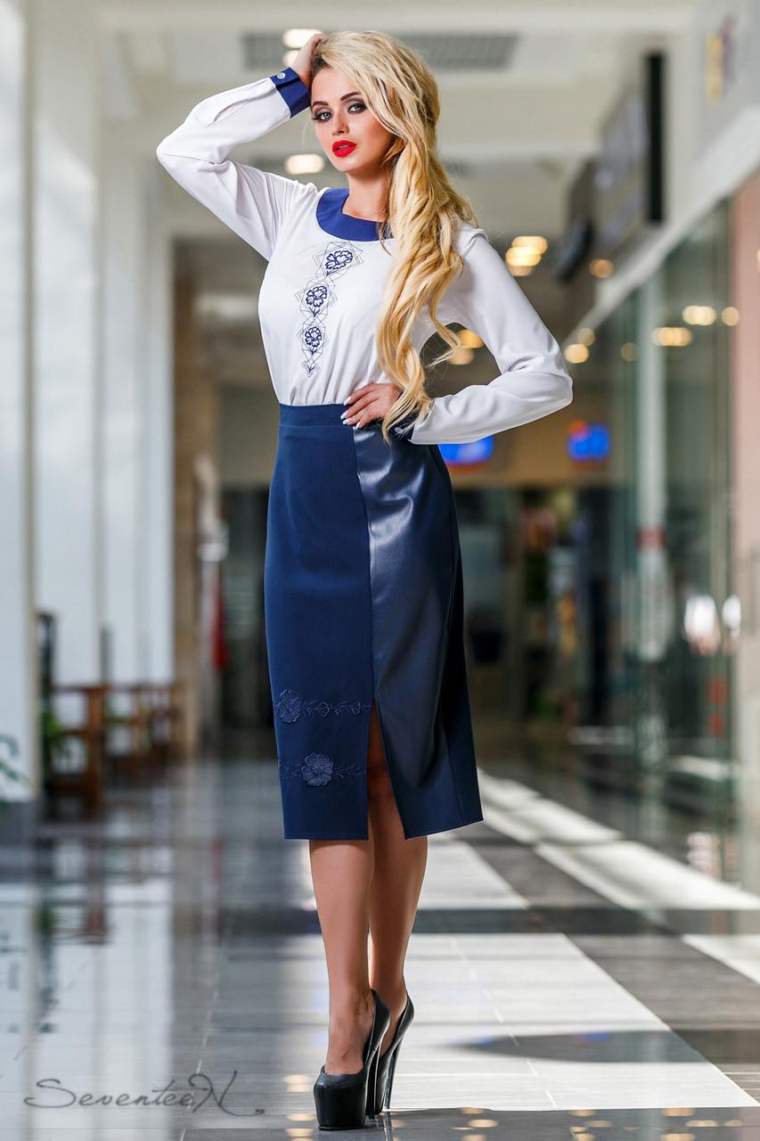 20dfed15b46 Женская классическая юбка ниже колен с кожаной вставкой синяя ...