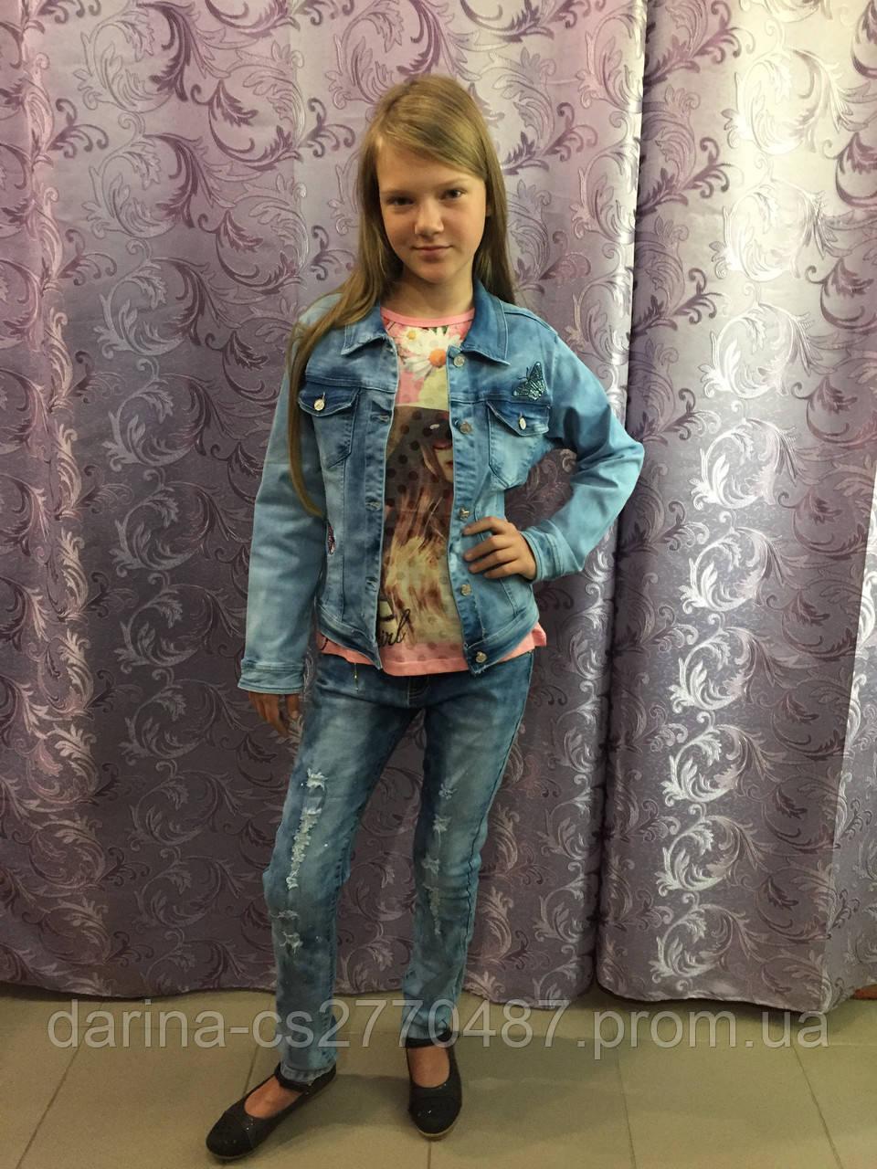 Джинсовая куртка для девочки подростка 158 см
