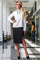 Женская классическая чёрная юбка с кожаной вставкой