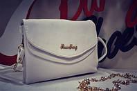Женская молодежная мини сумка клатч белая