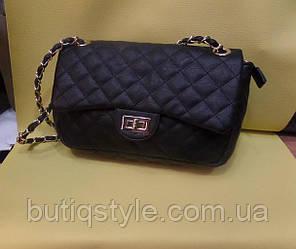 Стильная женская стёганная сумка черная