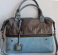 Женская сумка из джинсовой ткани и кожзаменителя
