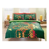 Двуспальный евро комплект постельного белья Tac Orions зеленый, сатин, Турция