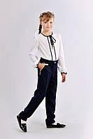Классические школьные брюки для девочки со стрелками синего цвета