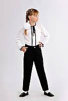 Классические школьные брюки для девочки со стрелками черного цвета