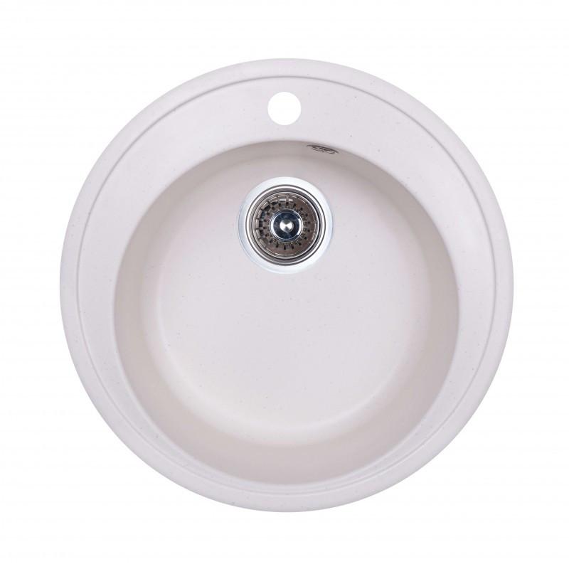 Кухонная мойка гранитная круглая Fosto D510 SGA-203 (белый)