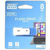 Флешка GOODRAM UCO2 8 GB бело-голубая компьютерная для ноутбука компьютера планшета файлов мультимедиа видео