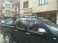 Рейлинги Nissan NAVARA 2005- SHARK для пикапов с перемычкой (черные или хром) Erkul