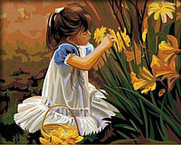 Картина по номерам Девочка собирающая букет КН030