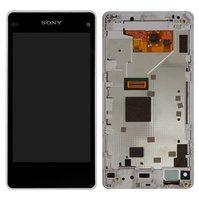 Дисплей для мобильного телефона Sony D5503 Xperia Z1 Compact Mini, белый, с рамкой, с сенсорным экраном, original (PRC)