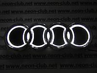 Светящаяся эмблема Audi/Ауди 5D белая