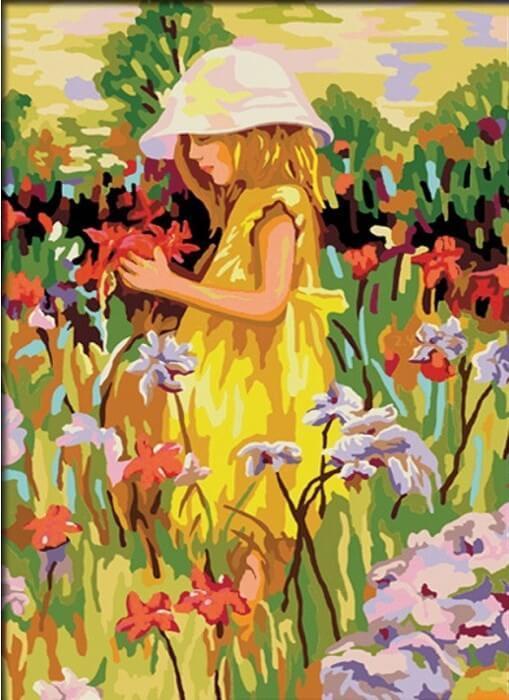 Картина по номерам Алиса с цветами КН022