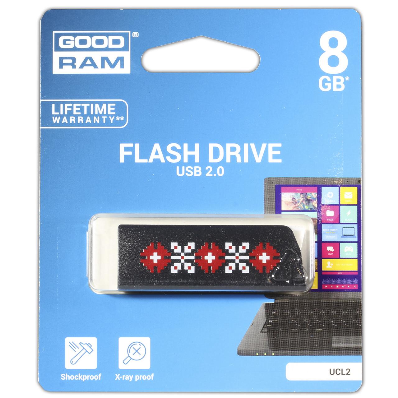 Универсальная флешка GOODRAM UCL2 8 GB Белая для компьютера ноутбука хранения фото видео музыки текста