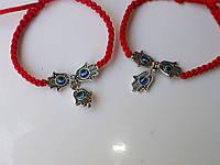 Браслеты для двоих из красной шелковой нити с амулетом Рука Хамсы и глаз от сглаза. Цена указана за пару