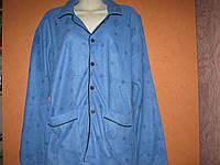 Пижама мужская синяя махра с начесом теплая на пуговицах с воротником размер XL (48-50)