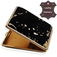 Портсигар для 18 KS/24 слим сигарет V.H. 901174, замш черный, золото