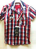 Сорочка червона клітка, короткий рукав, одяг для хлопчиків 6-11 років, фото 2
