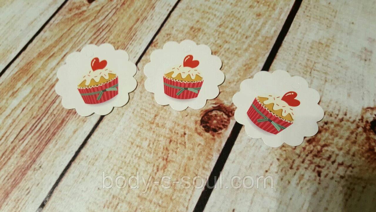 Бирка декоративная пирожное с сердечком