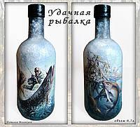 Декор бутылки в подарок мужчине рыбаку Сувениры для рыбаков Ручная работа