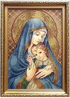 Вишивка бісером Мадонна з диттям (у синьому)