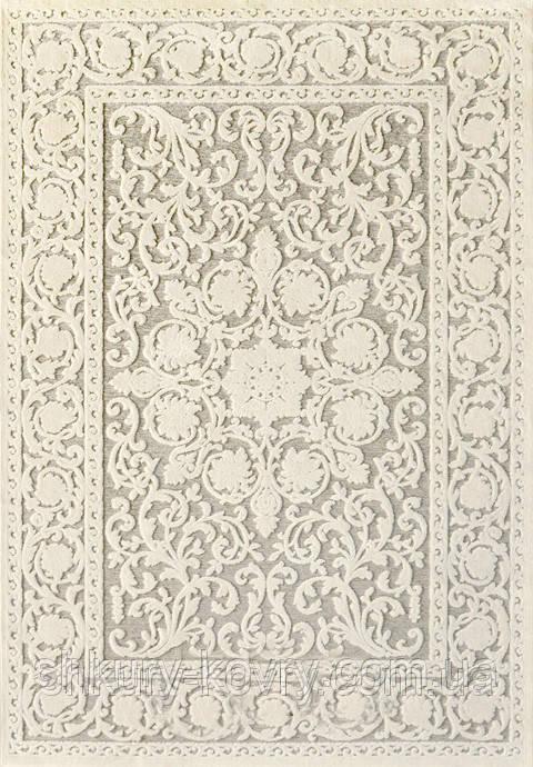 Килим з віскози в спальню, класичний білий килим