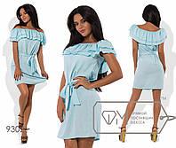 Платье  прямое из льна  с двойными оборками на эластичном вырезе анжелика и с мягким поясом раз. 42-46