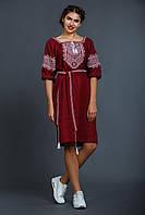 Женское вышитое платье «Твори мир бордовое», фото 1