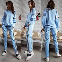 Костюм женский модный кофта и брюки с лампасами трикотаж джерси разные цвета Df568
