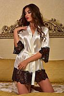 Соблазнительный атласный халат с широким кружевом Шампань с черным, фото 1