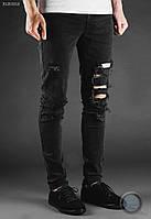 Мужские джинсы Staff - Skinny stretch Destroyed Art. BLK00012 (чёрный)