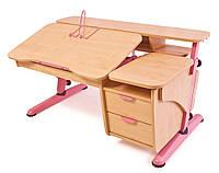 Парта трансформер с ящиками и полкой, ДСП (розовый)