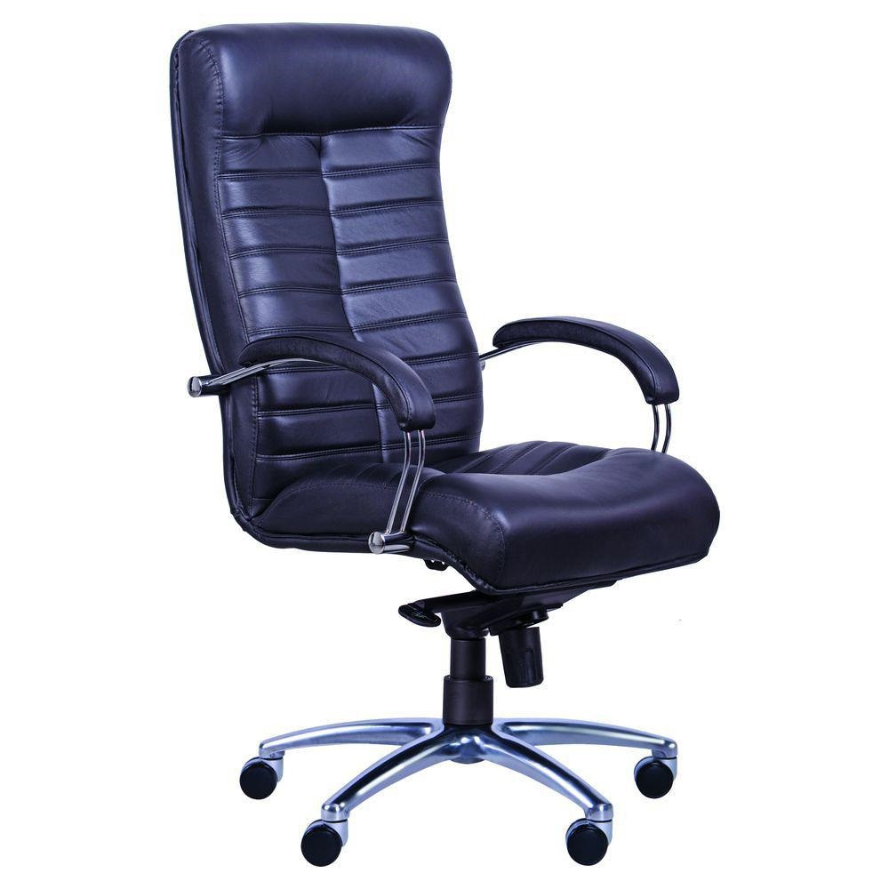 Кресло Орион HB хром Кожа Сплит черная (AMF-ТМ)