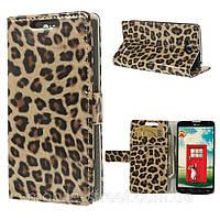Чехол книжка для LG L90 Dual SIM D410 боковой с отсеком для визиток, леопард