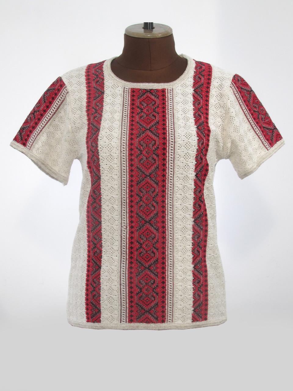 Вишиванка жіноча Маруся темно-червона з коротким рукавом