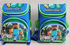 Школьный каркасный рюкзак Майнкрафт эргономный ортопедический 20 л 3 отделения 25х25x37см