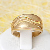 R1-2657 - Позолоченное кольцо рисунок Волна, 16, 17, 17.5, 18.5 р