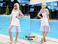 Белое платье-двойка с сеткой