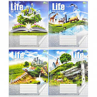 Тетрадь ЦВЕТНАЯ 18 листов «Мрiї збуваються» КЛЕТКА «Green»