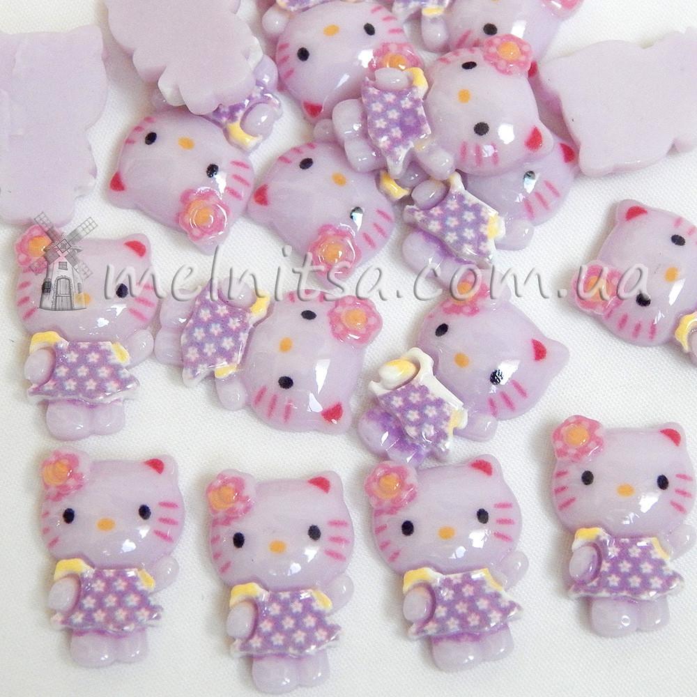 Клеевой декор Hello Kitty, 18x12 мм, сиреневый