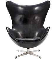 Дизайнерское кресло Egg chair (Эгг) черный, эко кожа, дизайн Arne Jacobsen