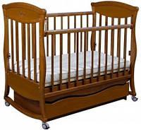 """Детская деревянная кроватка """"Gracia"""" с 2 ящиками (колыбель, 120Х60, полозья, стопорные колеса) ТМ Ласка-М Орех темный"""