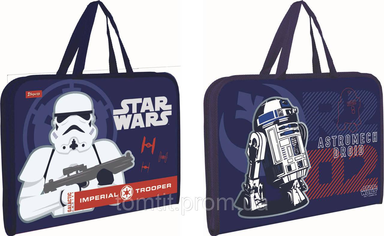 Папка - портфель пластиковый STAR WARS - Звёздные войны, на молнии с тканевыми ручками, формат А-4