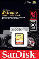 Карта памяти SanDisk 64GB SDXC UHS-I U3 R90/ W40MB/ s 4K Extreme (SDSDXVE-064G-GNCIN)